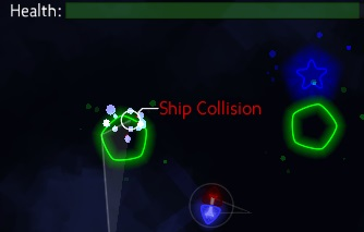 The newly introduced healthbar, collision particles, feedback text and a red blinking ship.