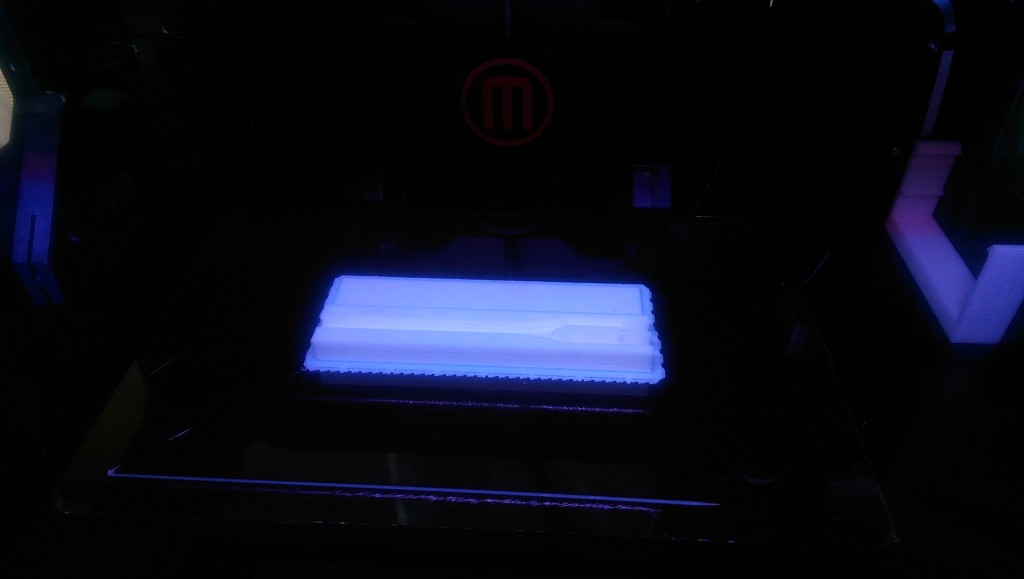 The MakerBot Replicator 2X printing our fork case (photo by Milin)