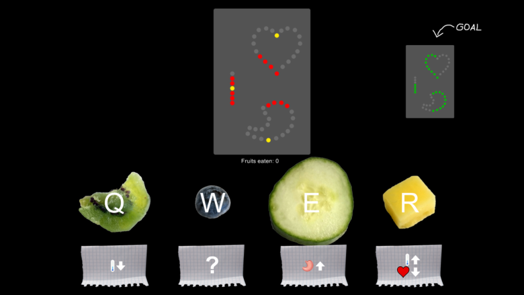 The final digital prototype. When the apron/fork is attached, the upper middle display vanishes. Currently 3 hints what the fruits do are shown - in a harder mode, there would be less or even no hints.