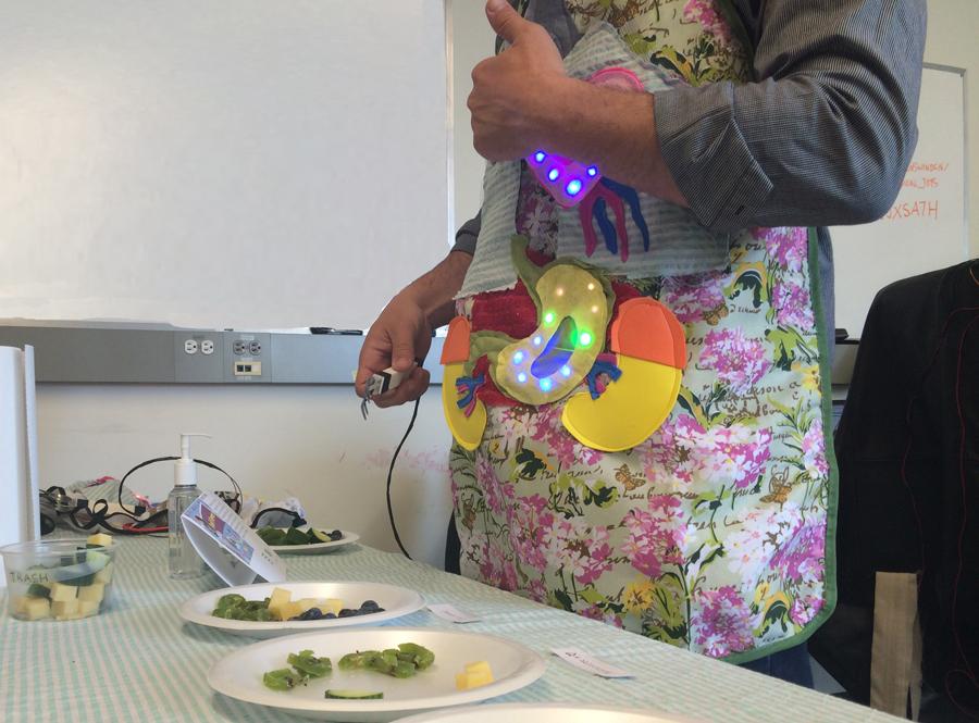 Eat fruits, receive LEDs! (photo by Mattias Graham)